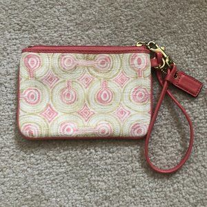 Coach Pink and Tan Wristlet Purse